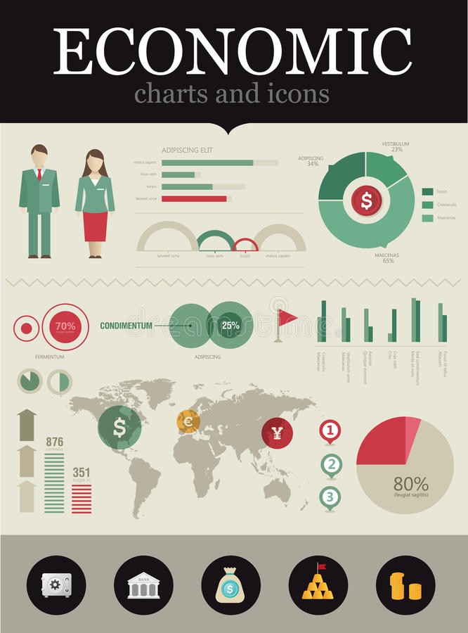 经济infographic 库存例证