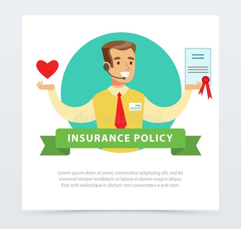 经理或代理与合同,保险业务概念保险单横幅平的传染媒介元素网站的或 向量例证