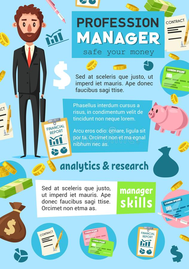 经理行业 企业或财务职业 库存例证