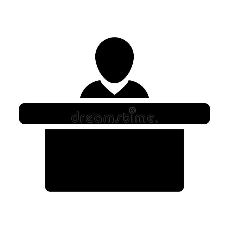 经理象传染媒介男性收养与桌的具体化标志在平的颜色纵的沟纹图表的事务的 向量例证