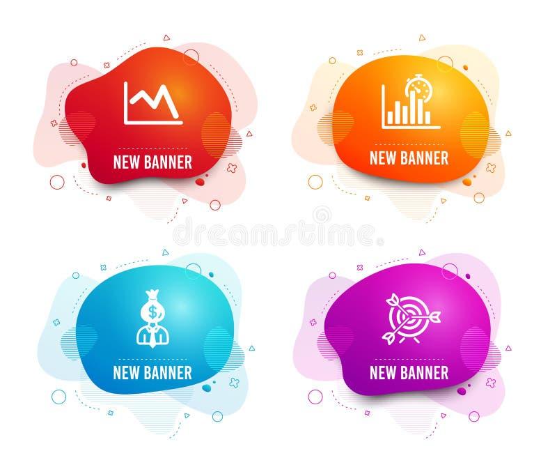 经理,报告定时器和折线图象 目标标志 工作赢利,成长曲线图,财政图表 ?? ?? 向量例证