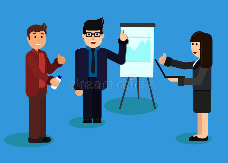 经营分析和计划的平的设计例证概念,咨询,队工作,项目管理,财政报告 库存例证