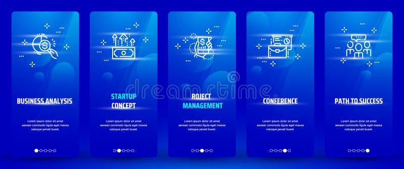 经营分析,起始的概念,项目管理,会议,向成功垂直的卡片的道路与强的隐喻 向量例证