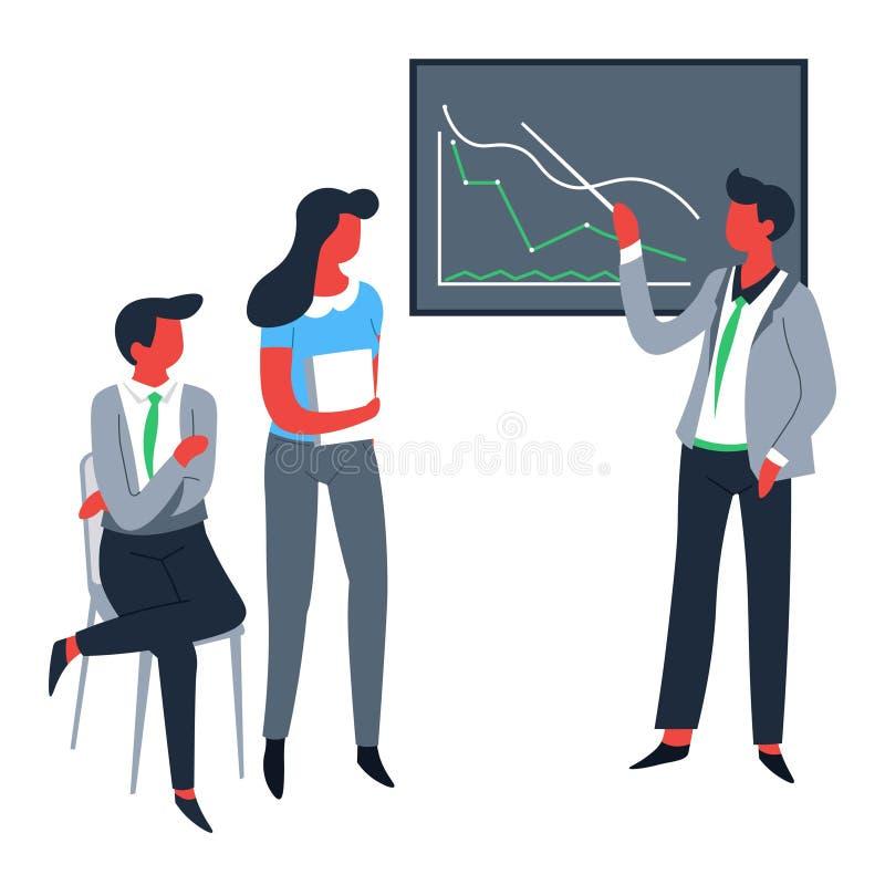 经营战略办公室工作者图表或图会议或者会议 皇族释放例证