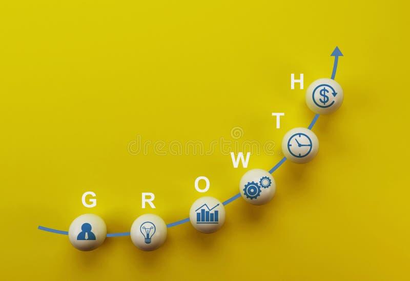 经营战略和行动纲领,概念的企业成功增长的成长增量 与词成长的白色球形在黄色ba 向量例证