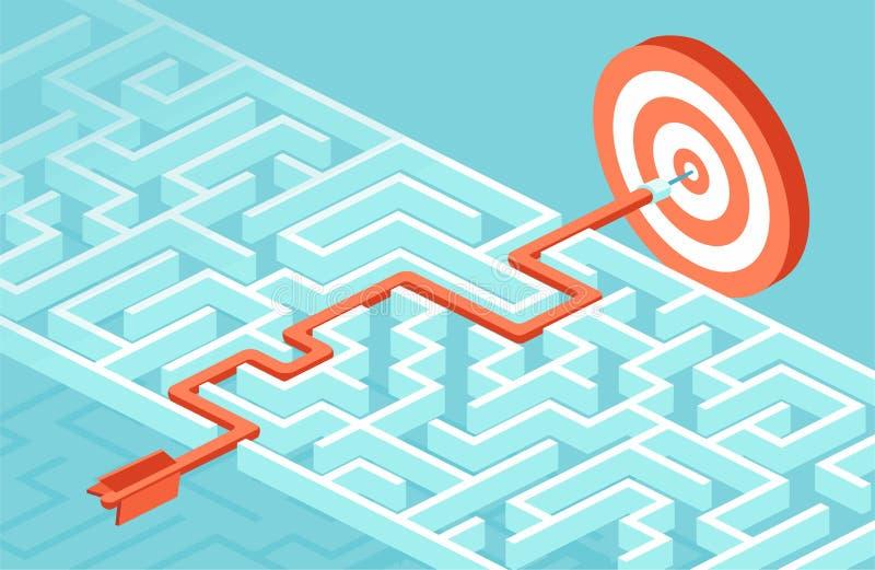 经营战略和计划的传染媒介能克服障碍和挑战到达成功 向量例证