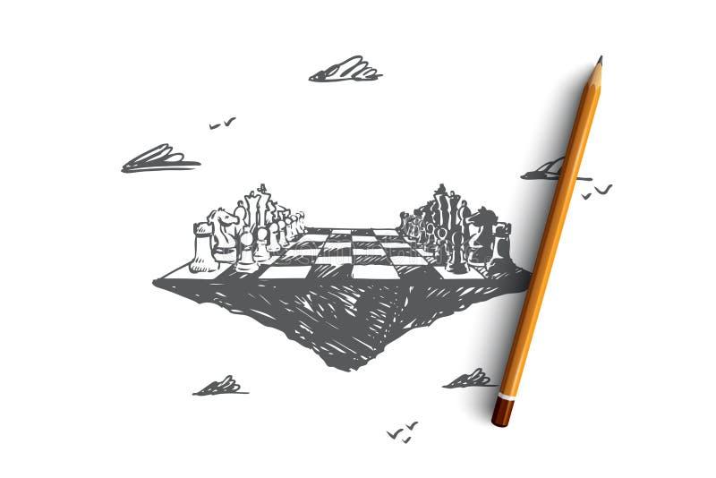 经营战略,棋,战术,竞争,交锋概念 手拉的被隔绝的传染媒介 皇族释放例证