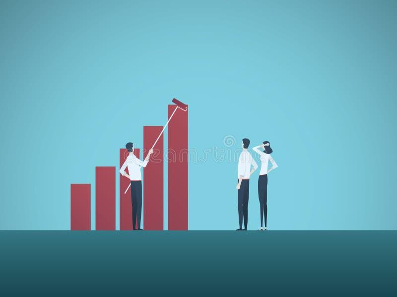 经营计划或战略传染媒介概念与商人和妇女队  赢利,成长,成功,进展的标志 库存例证