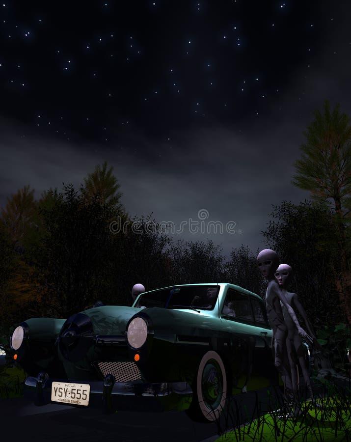 绑架汽车飞碟 库存图片
