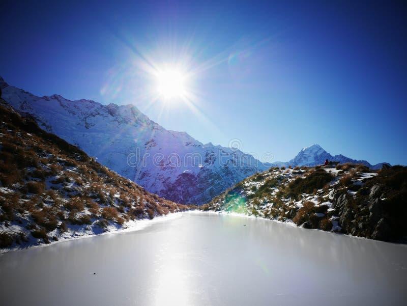 结冰的湖 免版税库存图片