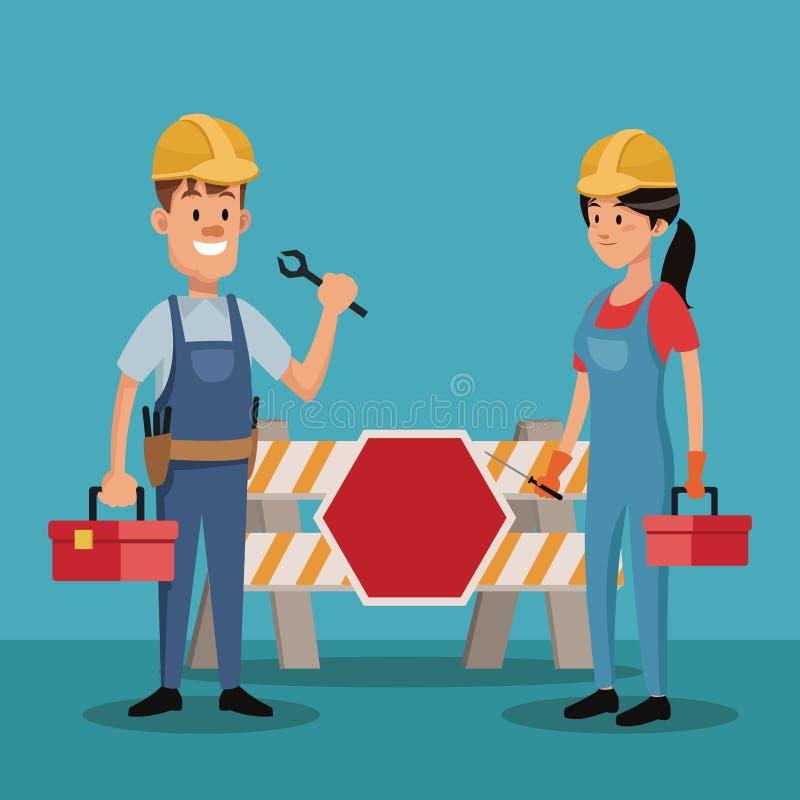 结合人工作者建筑制服工具劳动节 皇族释放例证