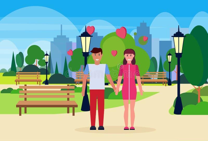 结合在举行手愉快的情人节的爱庆祝概念人一起站立城市都市公园的妇女恋人 库存例证