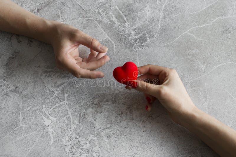 结合在拿着一红心在他们的手上的爱 免版税库存图片