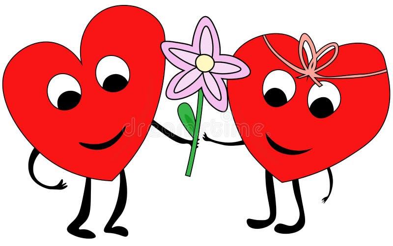结合在爱的心脏 库存例证