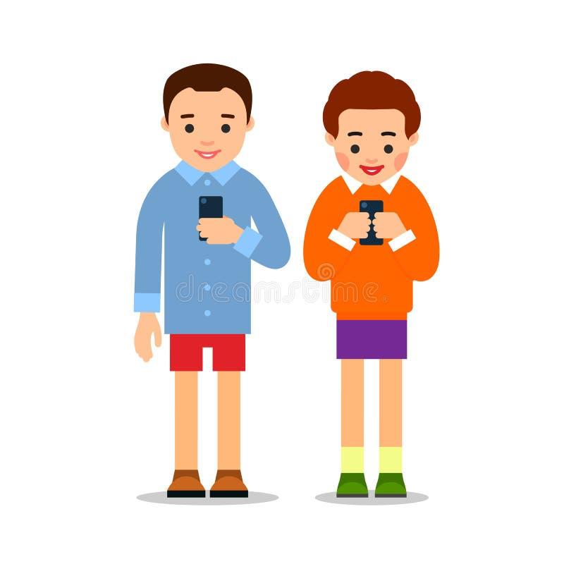 结合在电话 年轻人和妇女在他们的手上站立拿着电话和看屏幕 r 向量例证