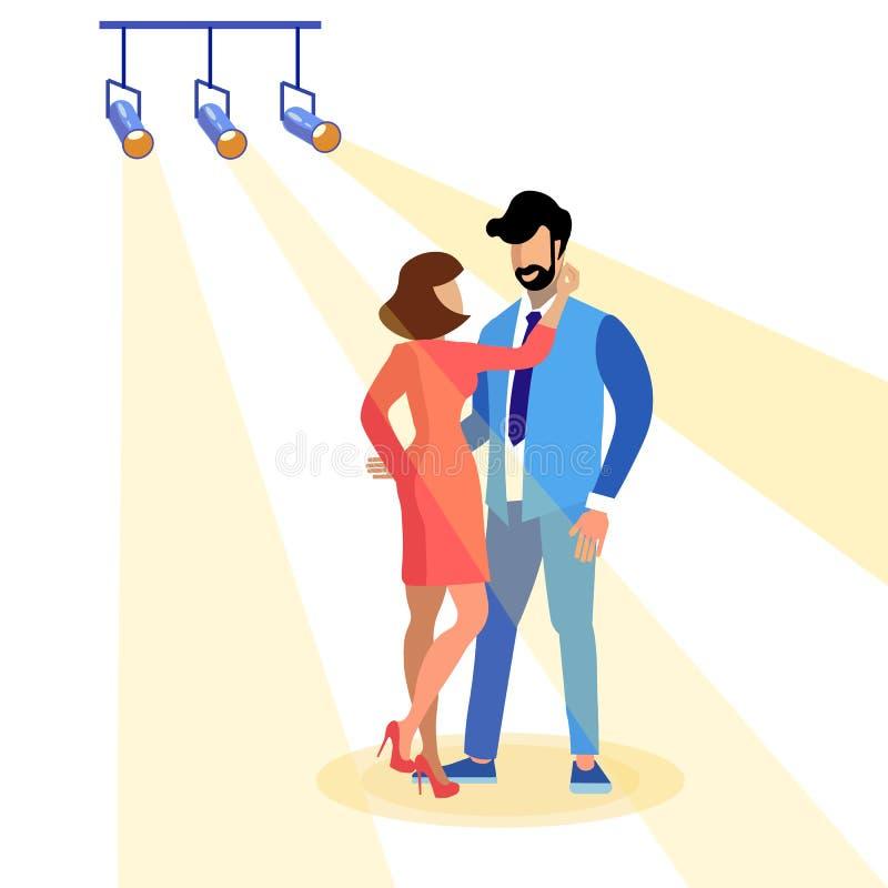 结合在舞台中心平的例证的跳舞 向量例证