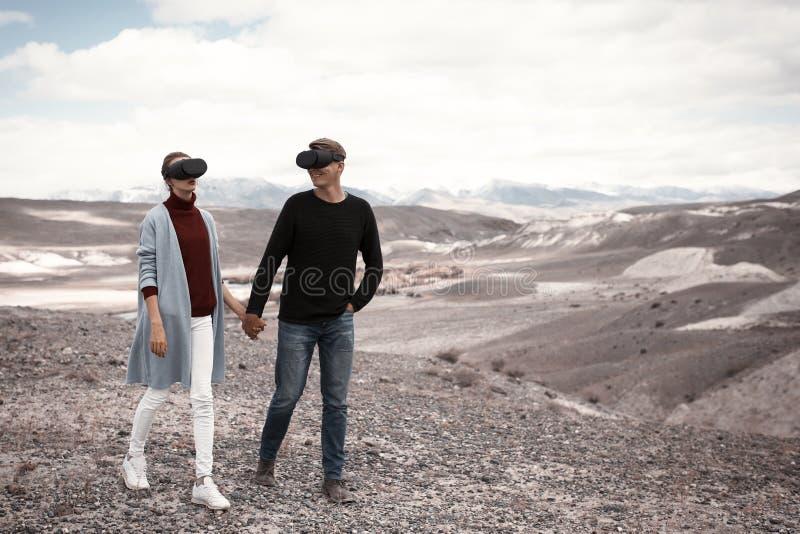 结合旅行在虚拟现实中 图库摄影