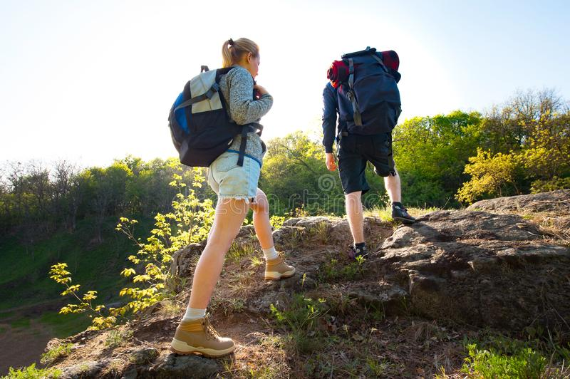 结合步行在森林里的背包徒步旅行者在夏天期间 旅行, h 免版税图库摄影