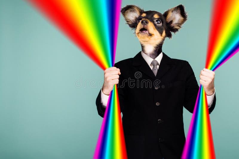 结合衣服的一个人和狗头的荧光的拼贴画 字符在他的手上拿着一条彩虹并且查寻 mout 库存图片