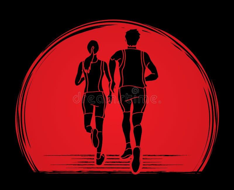 结合赛跑、一起跑图表传染媒介的马拉松运动员、男人和妇女 库存例证
