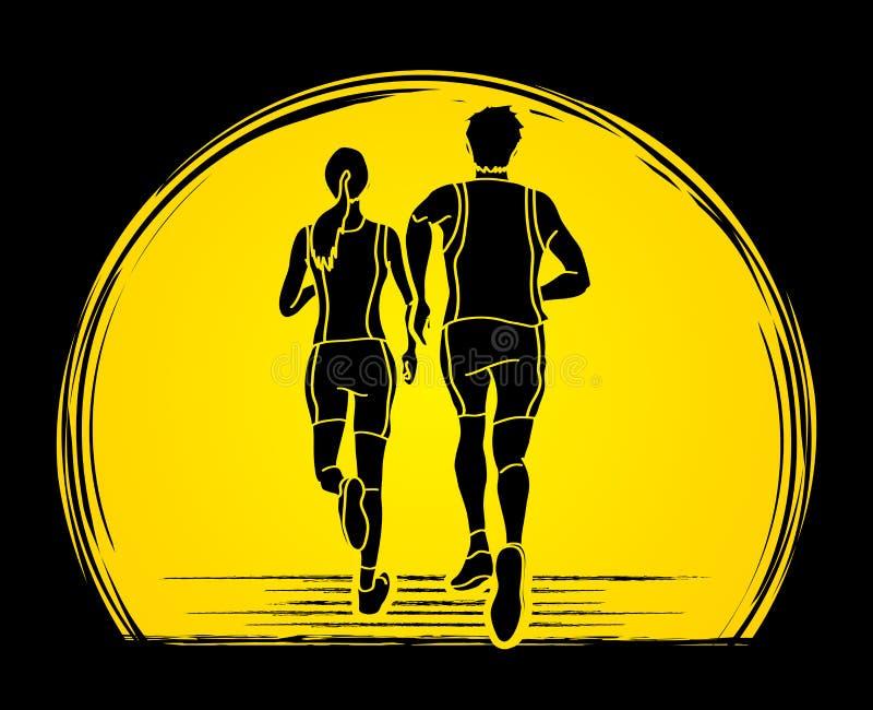结合赛跑一起,马拉松运动员图表传染媒介 库存例证