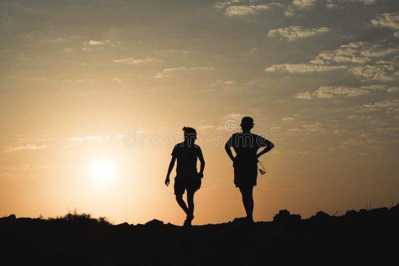 结合silhoutte和日落,瓜希拉 免版税库存照片