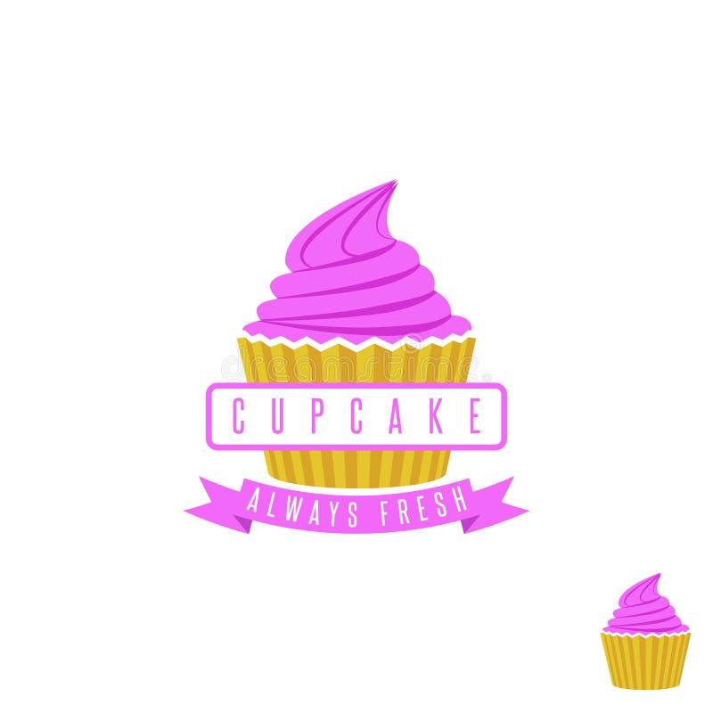 结块商店商标、甜杯形蛋糕与桃红色奶油和丝带,减速火箭的点心象征模板设计元素 库存例证