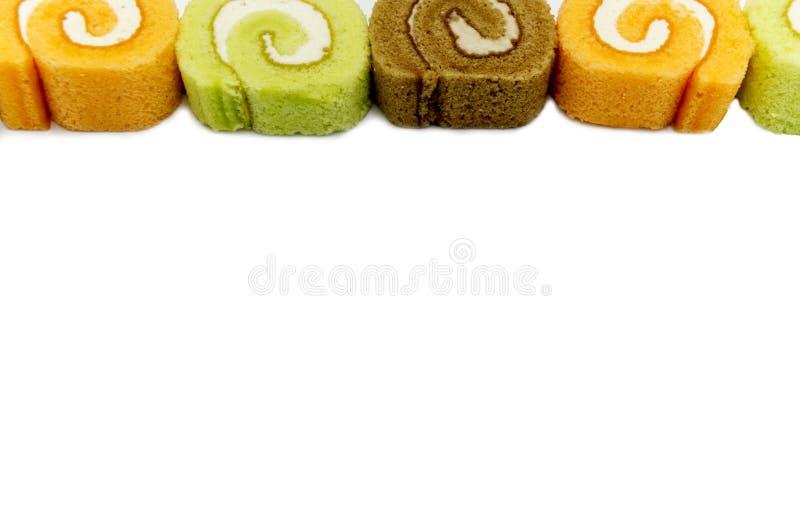 结块多彩多姿被隔绝的果酱卷在白色背景 库存图片