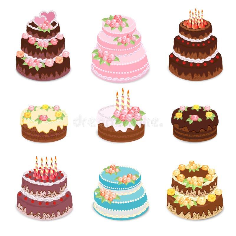 结块收集 套不同的类型被烘烤的甜点结块-巧克力蛋糕、生日和婚礼庆祝结块 库存例证