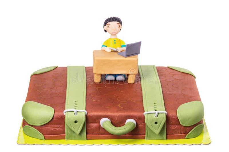 结块有人的一个手提箱从糖酱 在生日 免版税库存照片