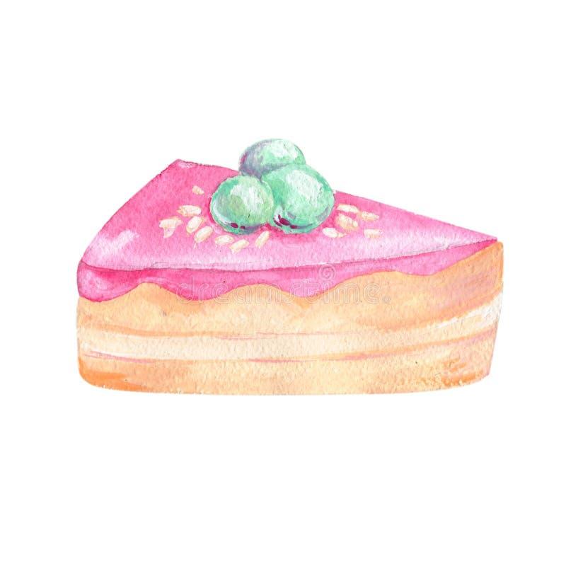 结块片断水彩面粉食物树胶水彩画颜料剪贴美术图画例证褐色酸奶干酪coffe deseret蓝莓几何pi 向量例证