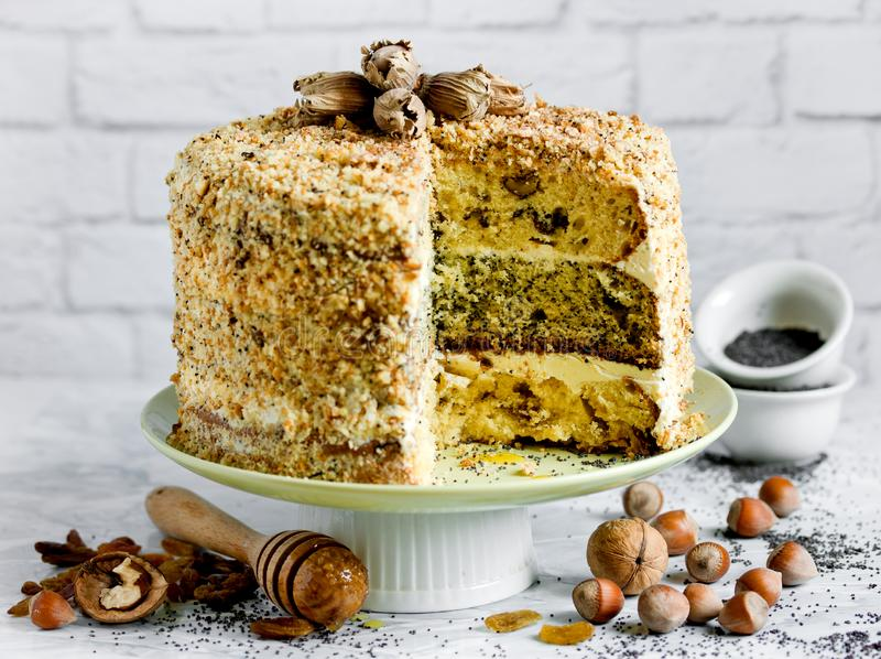 结块smetannik或夹心蛋糕将军-三与坚果、鸦片和葡萄干充塞和酸性稀奶油的 免版税图库摄影