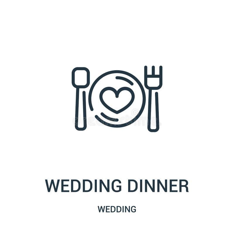 结婚宴会从婚姻的收藏的象传染媒介 稀薄的线结婚宴会概述象传染媒介例证 线性标志为 皇族释放例证