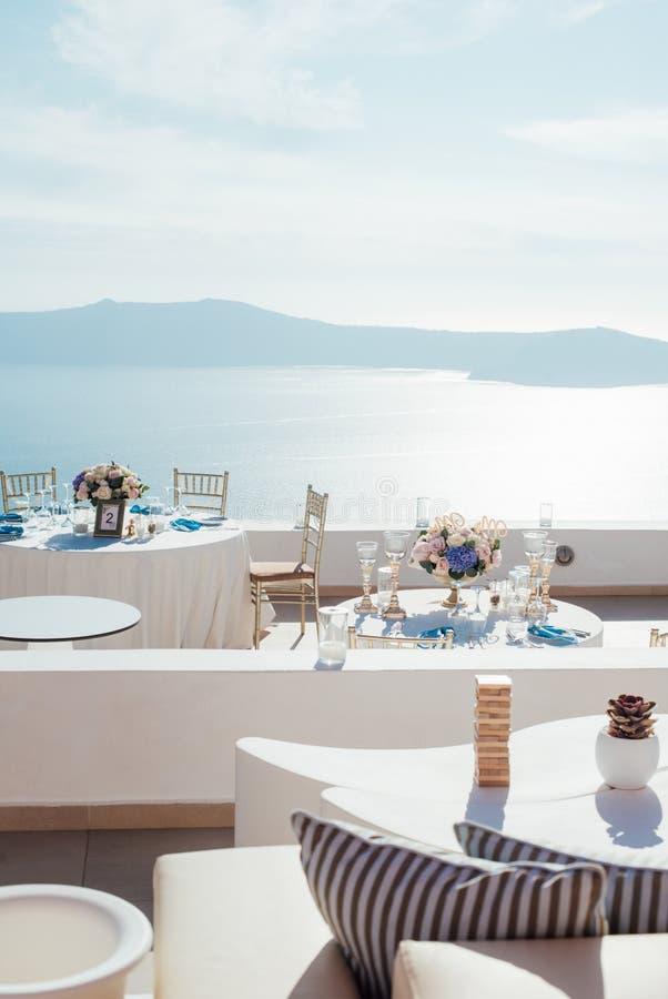 结婚宴会的地方圣托里尼海岛的  免版税图库摄影