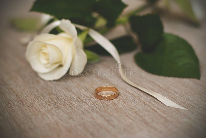 结婚戒指和奶油上升了 婚姻的标志,属性 假日,庆祝 宏指令 蓝蓝 库存照片