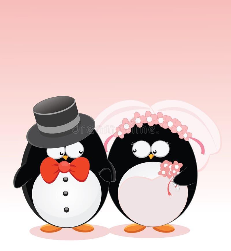 结婚的企鹅 向量例证