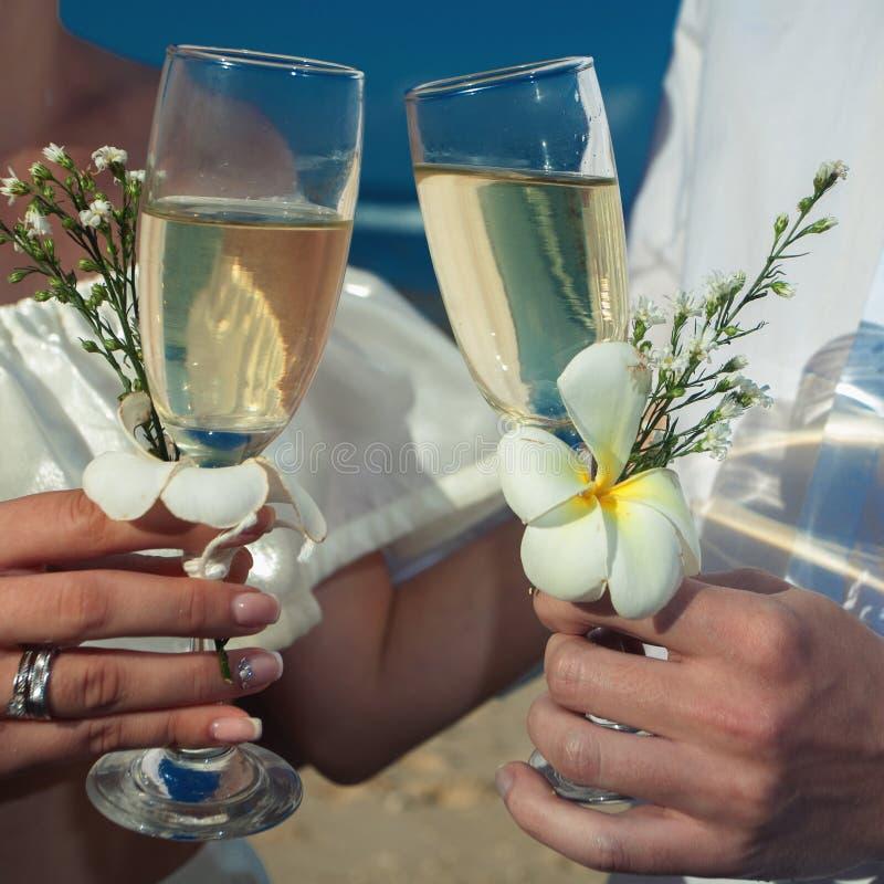 结婚的婚礼夫妇 夫妇拿着杯香槟 库存图片