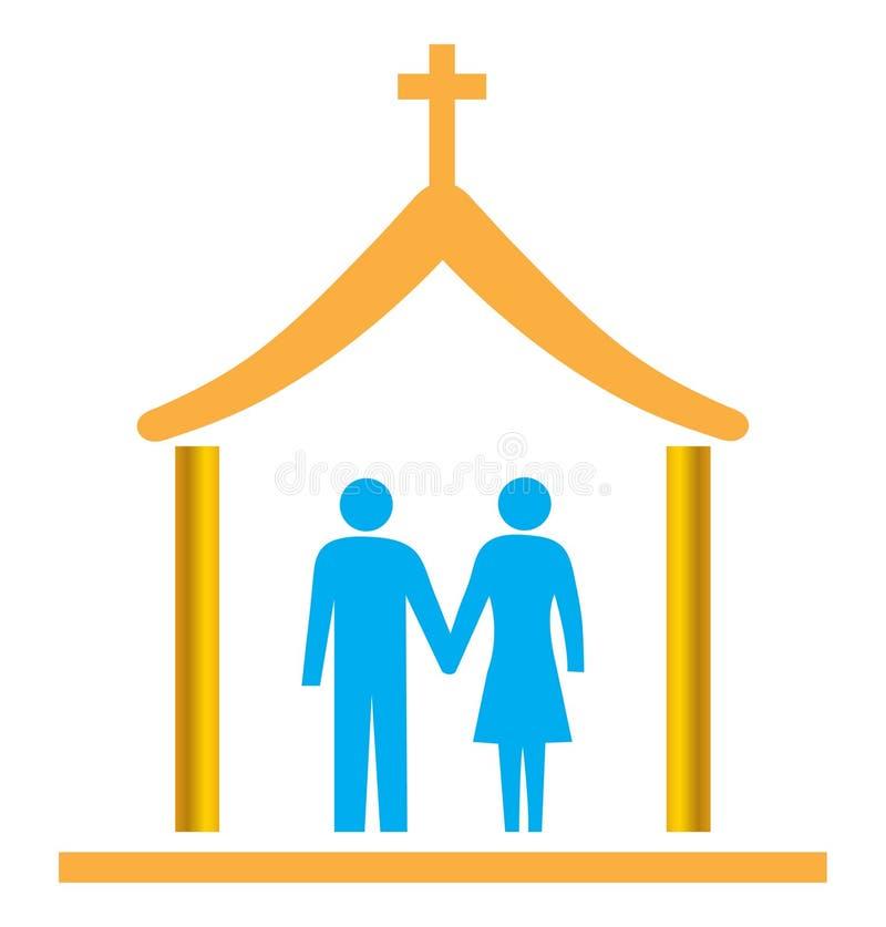 结婚的教会夫妇 库存例证