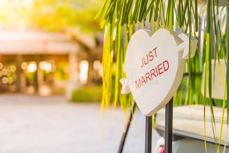 结婚的标志形成了入心脏形状有被弄脏的背景 热带目的地蜜月背景概念 库存照片