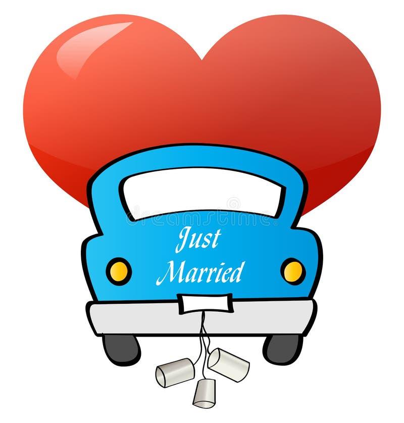 结婚-汽车 皇族释放例证