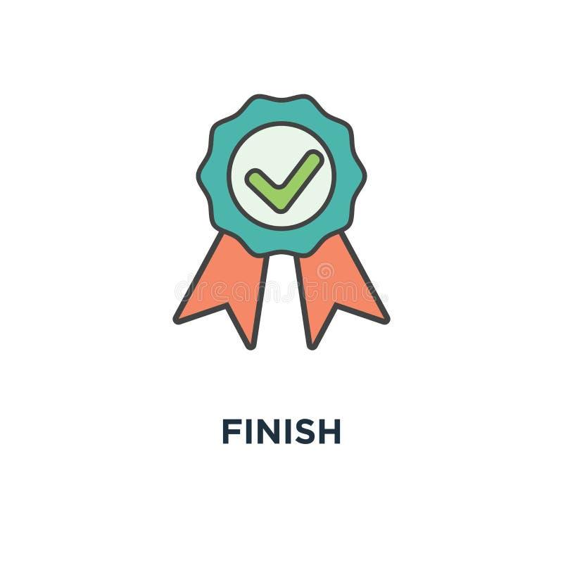 结束象 完成,成就,绿色批准的贴纸,完成的邮票,概述,徽章,检查概念标志设计,固定了, 皇族释放例证
