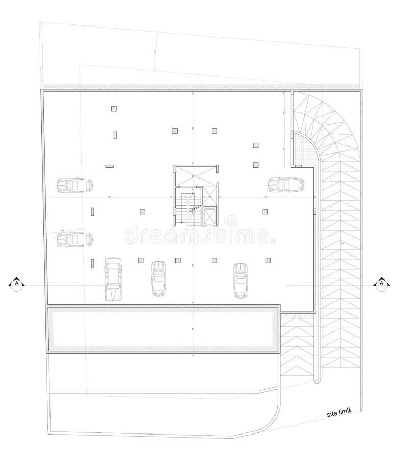 结构上停车场计划 库存照片
