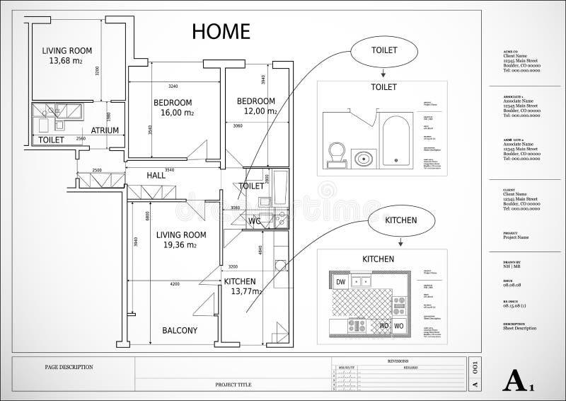 结构上房子计划 向量例证