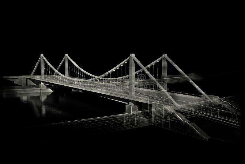 结构上桥梁bw草图 皇族释放例证