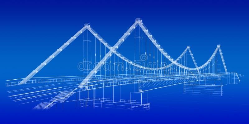 结构上蓝色桥梁草图 皇族释放例证