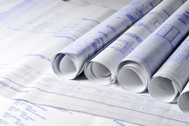 结构上blueprins卷表 库存照片