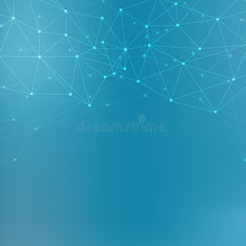 结构分子和通信 脱氧核糖核酸,原子,神经元 您的设计的科学概念 与小点的被连接的线 免版税库存照片
