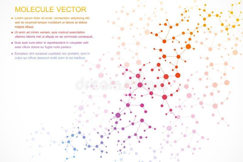结构分子和通信 脱氧核糖核酸,原子,神经元 您的设计的科学概念 与小点的被连接的线 向量例证