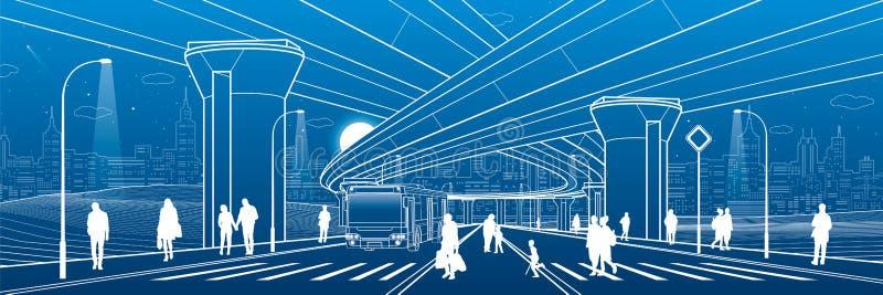 结构城市图象向量 基础设施例证,运输天桥,大桥梁,都市场面 公共汽车移动 走在街道的人们 n 向量例证