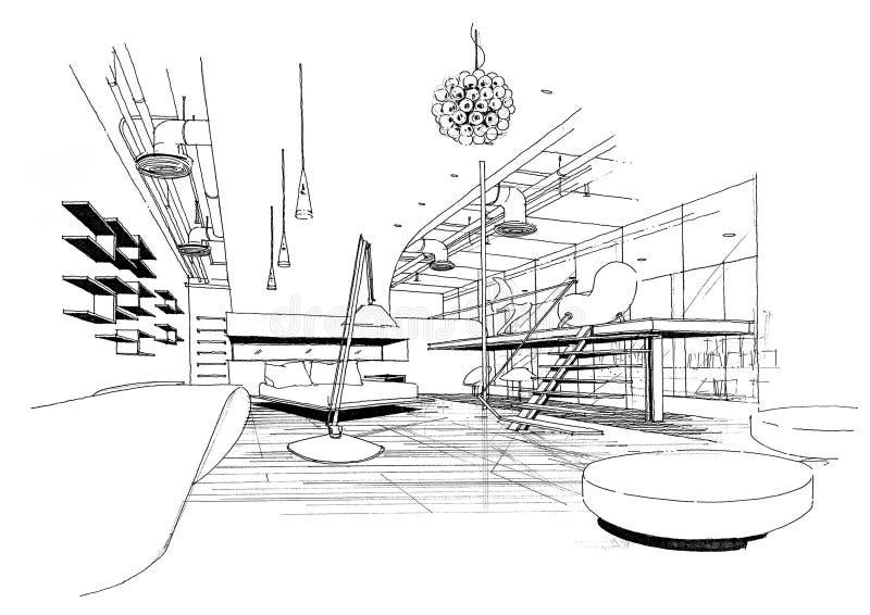 结构建筑内部横向sketc 库存例证